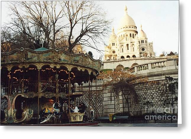 Photos In Sepia Greeting Cards - Paris Carousel Merry Go Round Montmartre - Carousel at Sacre Coeur Cathedral  Greeting Card by Kathy Fornal