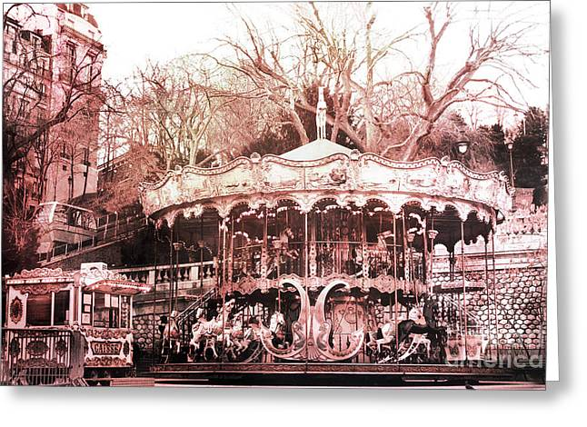 Paris At Night Greeting Cards - Paris Carousel Merry Go Round Montmartre District - Sacre Coeur Carousel Greeting Card by Kathy Fornal