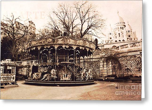 Paris At Night Greeting Cards - Paris Carousel Merry Go Round Montmartre District - Sepia Carousel at Sacre Coeur  Greeting Card by Kathy Fornal