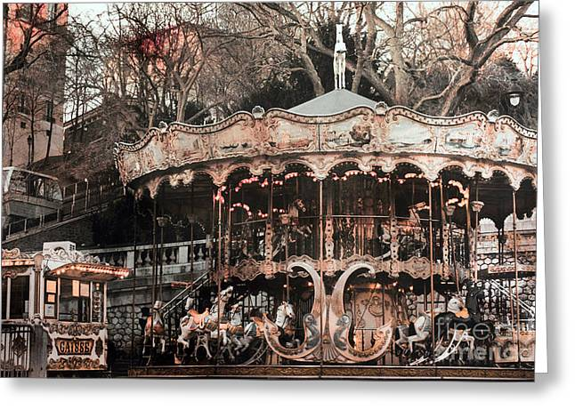 Paris At Night Greeting Cards - Paris Carousel Merry Go Round Sepia -  Paris Carousel Montmartre District Sacre Coeur Greeting Card by Kathy Fornal
