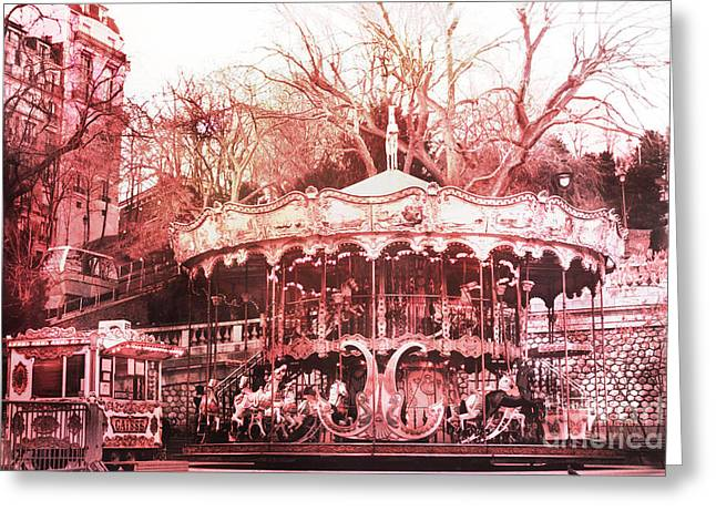 Paris Carousel Montmartre District Red Carousel Greeting Card by Kathy Fornal