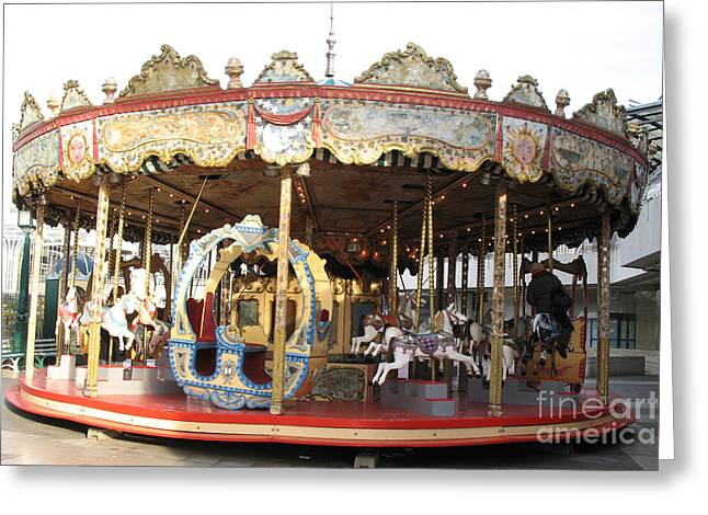 Surreal Fantasy Horse Fine Art Greeting Cards - Paris Carousels Merry Go Round Horses - Paris Carousel Rides Fine Art Photography Greeting Card by Kathy Fornal