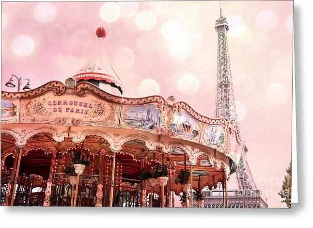 Champs Greeting Cards - Paris Carrousel de Paris - Eiffel Tower Carousel Merry Go Round - Paris Baby Girl Nursery Decor Greeting Card by Kathy Fornal