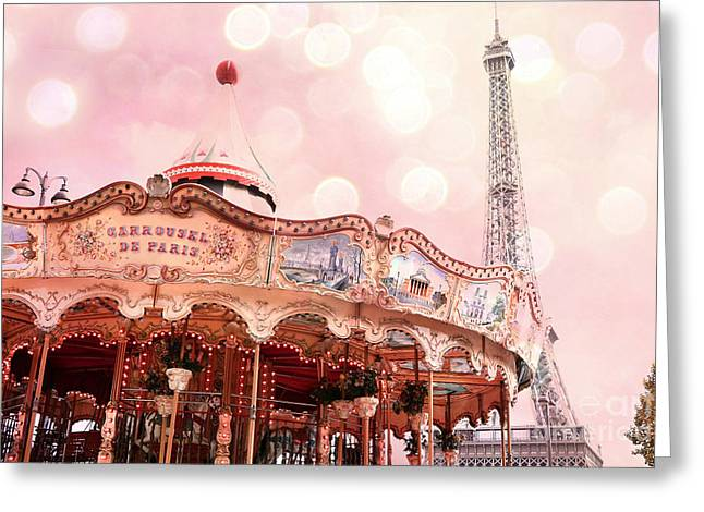 Decor Photography Greeting Cards - Paris Carrousel de Paris - Eiffel Tower Carousel Merry Go Round - Paris Baby Girl Nursery Decor Greeting Card by Kathy Fornal