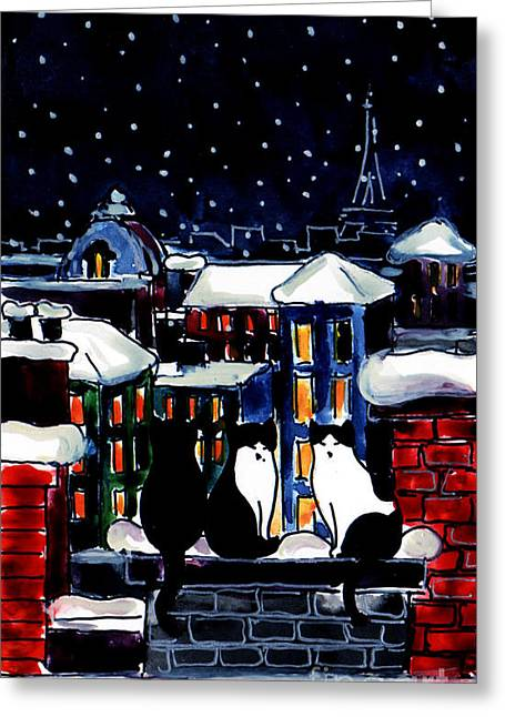 Paris Cats Greeting Card by Mona Edulesco