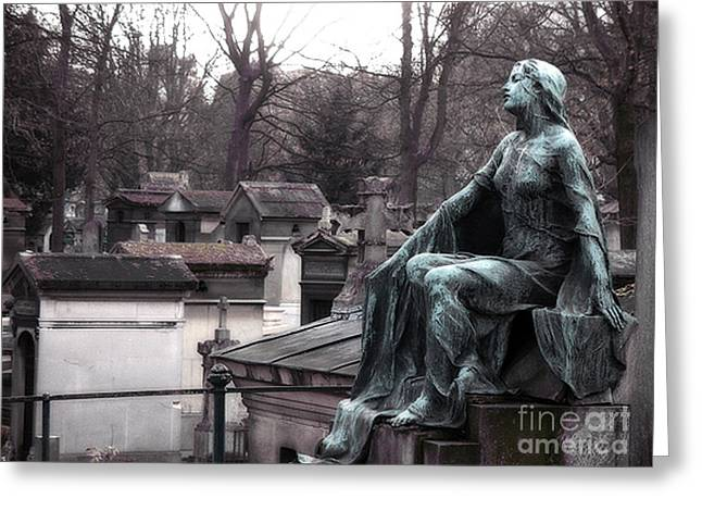 Grave Greeting Cards - Paris Cemetery Art Sculptures - Female Grave Mourning Figure Monument - Montmartre Cemetery Greeting Card by Kathy Fornal
