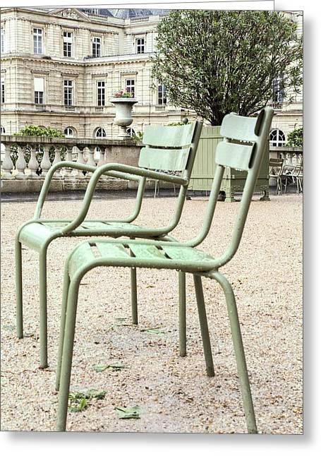 Paris Chairs Greeting Card by Georgia Fowler