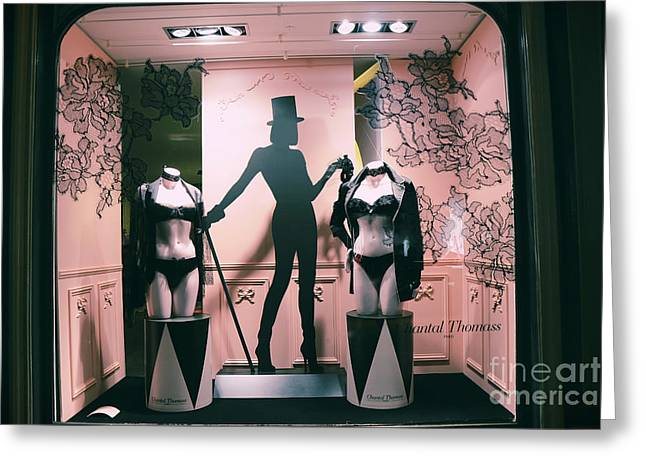 Boutique Art Greeting Cards - Paris Chantal Thomass Lingerie Shop - Paris Luxury Lingerie Boutique Mannequins Art Deco Greeting Card by Kathy Fornal