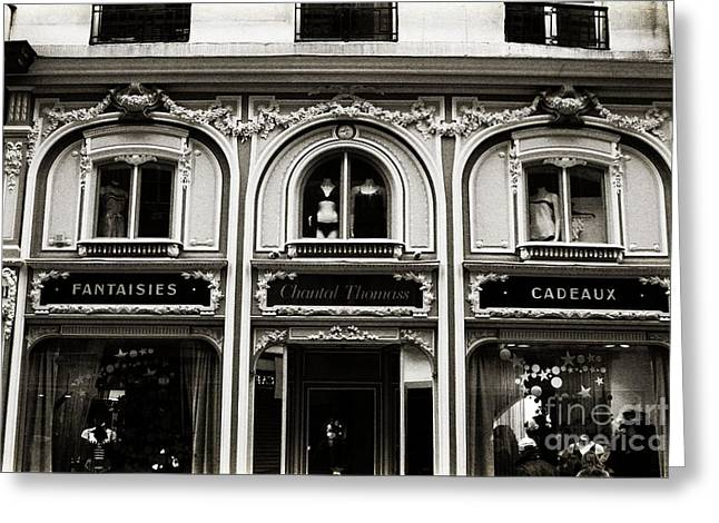 Paris Chantel Thomass French Luxury Lingerie - Paris Architecture Black White Lingerie Boutique Greeting Card by Kathy Fornal