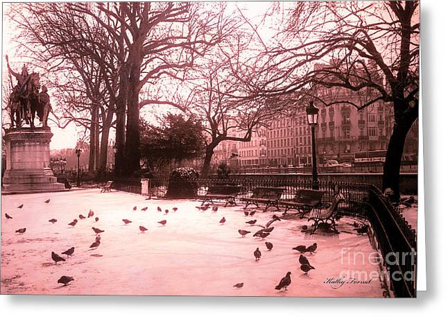 Surreal Paris Fine Art By Kathy Fornal Greeting Cards - Paris Charlemagne Notre Dame Cathedral Courtyard - Paris Dreamy Pink Notre Dame Statue With Pigeons  Greeting Card by Kathy Fornal