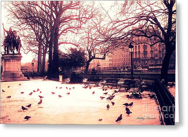 Notre Dame Cathedral Greeting Cards - Paris Charlemagne Notre Dame Paris Romantic Courtyard Sunset With Pigeons Greeting Card by Kathy Fornal