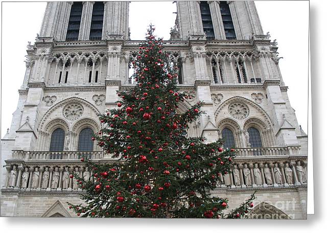 Red And Green Photographs Greeting Cards - Paris Christmas Photography - Notre Dame Cathedral Christmas Tree - Paris at Christmas Greeting Card by Kathy Fornal