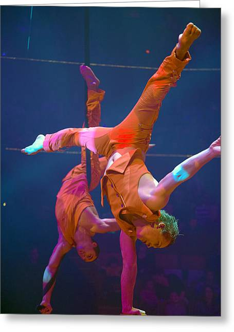 Legs Spread Greeting Cards - Paris Circus Acrobats Greeting Card by Matthew Bamberg