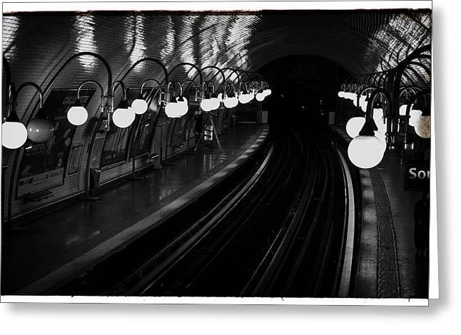 Station Wagon Greeting Cards - Paris Cite Underground in black and white Greeting Card by Nomad Art And  Design
