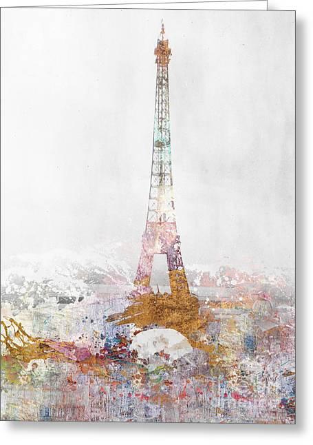 Color Splash Greeting Cards - Paris Color Splash Greeting Card by Aimee Stewart