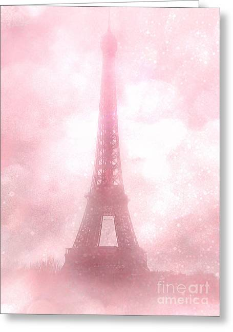 Print On Canvas Greeting Cards - Paris Cottage Pink Dreamy Romantic Eiffel Tower Fantasy Pink Clouds Fine Art Greeting Card by Kathy Fornal