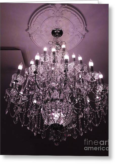Chandelier Greeting Cards - Paris Crystal Chandelier Art Deco - Romantic Purple Sparkling Chandelier - Crystal Chandelier Photos Greeting Card by Kathy Fornal