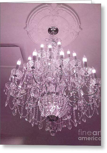 Chandelier Greeting Cards - Paris Crystal Chandelier Dreamy Romantic Pink Sparkliing Chandelier - Crystal Pink Chandelier  Greeting Card by Kathy Fornal