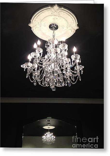 Chandelier Greeting Cards - Paris Crystal Chandelier - Paris Black and White Chandelier - Sparkling Elegant Chandelier Opulence  Greeting Card by Kathy Fornal