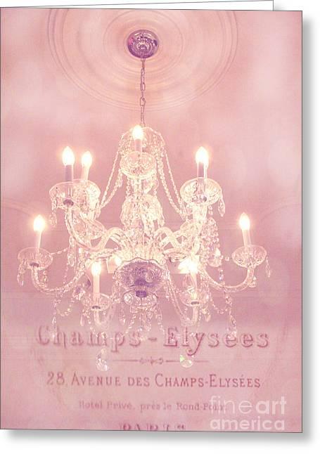 Art Decor Greeting Cards - Paris Crystal Chandelier Pink Sparkling Chandelier - Paris Dreamy Pink Chandelier Art French Script  Greeting Card by Kathy Fornal