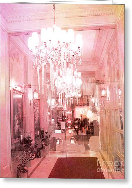Paris Crystal Chandelier Posh Pink Sparkling Hotel Interior And Sparkling Chandelier Hotel Lights Greeting Card by Kathy Fornal