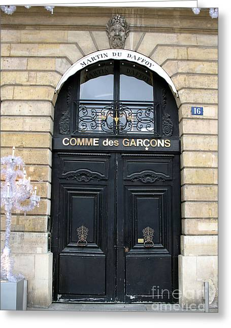 Paris Door Art - Paris Black And Gold Door Architecture - Paris Mens Clothing Shop Door Art Greeting Card by Kathy Fornal