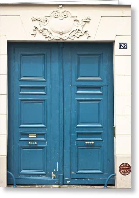 Entryway Greeting Cards - Paris Door Greeting Card by Nomad Art And  Design