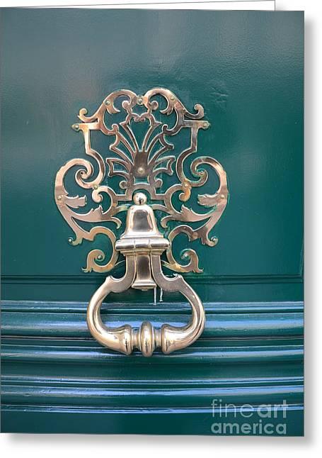 Paris Buildings Greeting Cards - Paris Door Photography - Paris Green Teal Door Knocker - Paris Door Architecture - Doors of Paris Greeting Card by Kathy Fornal