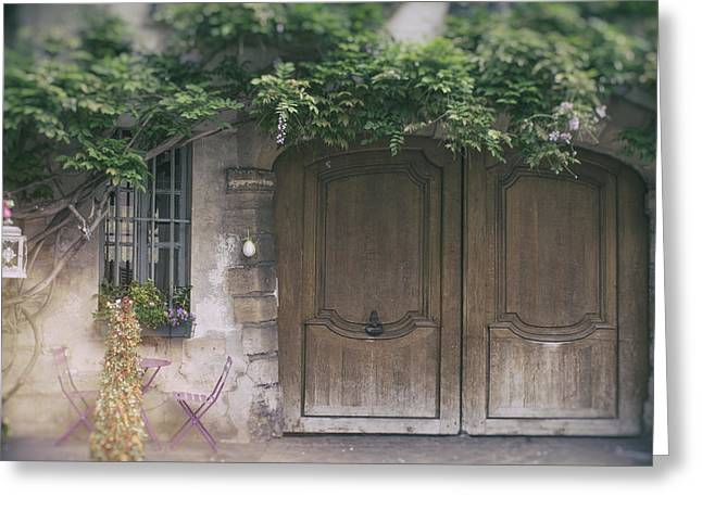 Entryway Greeting Cards - Paris Door with Wisteria Greeting Card by Nomad Art And  Design