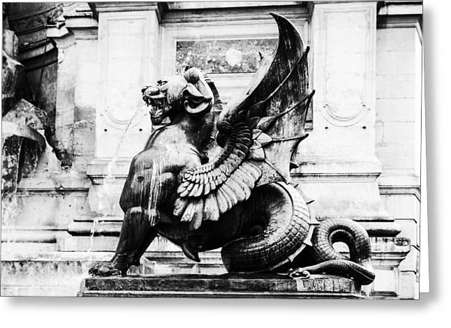Sculpture For Sale Greeting Cards - Paris Dragon Greeting Card by Nomad Art And  Design