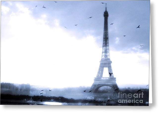 Photograph Framed Prints Greeting Cards - Paris Dreamy Blue Eiffel Tower With Birds Flying - Surreal Fantasy Eiffel Tower Pastel Blue Greeting Card by Kathy Fornal