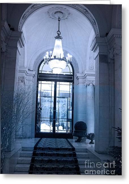 Paris In Blue Greeting Cards - Paris Dreamy Blue Posh Hotel Interior Arch Entry With Sparkling Crystal Chandelier   Greeting Card by Kathy Fornal