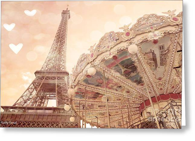 Merry Go Round Greeting Cards - Paris Dreamy Eiffel Tower and Carousel With Hearts - Paris Sepia Eiffel Tower and Carousel Photo Greeting Card by Kathy Fornal