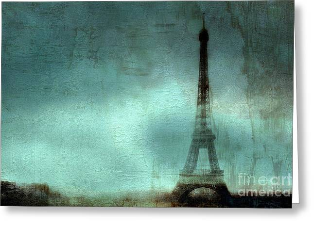 Night Scene Prints Greeting Cards - Paris Dreamy Eiffel Tower Teal Aqua Abstract Art Photo - Paris Eiffel Tower Painted Photograph Greeting Card by Kathy Fornal
