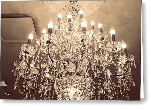 Paris Dreamy Golden Sepia Sparkling Elegant Opulent Chandelier Fine Art Greeting Card by Kathy Fornal