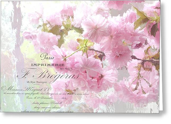 Floral Photos Greeting Cards - Paris Dreamy Pink Blossoms Tree - Paris Cherry Blossoms With French Script Letter Writing Greeting Card by Kathy Fornal