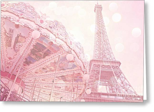 Merry Go Round Greeting Cards - Paris Dreamy Pink Carousel and Eiffel Tower - Eiffel Tower Carousel - Paris Baby Girl Nursery Room Greeting Card by Kathy Fornal