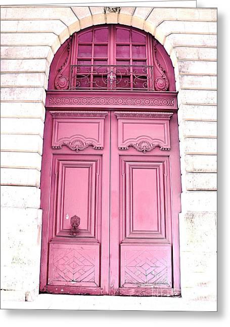 Paris Dreamy Pink Door Photography - Paris Romantic Pink Door Architecture - Paris Shabby Chic Door Greeting Card by Kathy Fornal