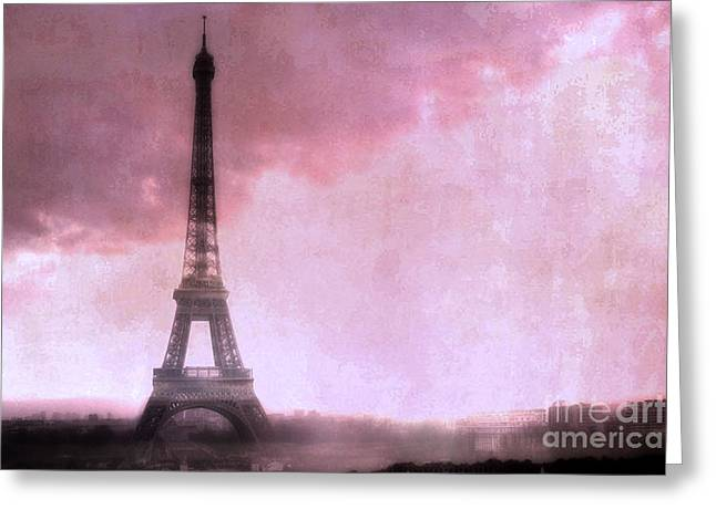 Paris In Lights Greeting Cards - Paris Dreamy Pink Eiffel Tower Abstract Art - Romantic Eiffel Tower With Pink Clouds Greeting Card by Kathy Fornal