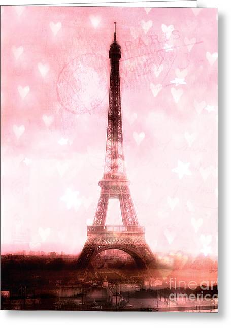 Girls Room Decor Greeting Cards - Paris Dreamy Pink Eiffel Tower With Hearts and Stars - Paris Pink Eiffel Tower Romantic Pink Art Greeting Card by Kathy Fornal