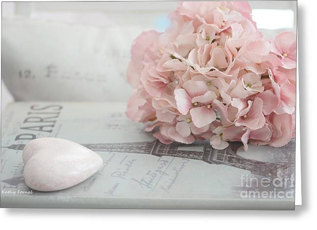Floral Photographs Greeting Cards - Paris Dreamy Pink Hydrangeas and Pink Heart - Paris Romantic Cottage Chic Pastel Floral Art Greeting Card by Kathy Fornal