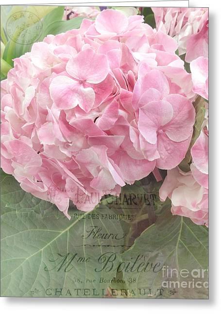 Floral Photographs Greeting Cards - Paris Dreamy Pink Hydrangeas Floral Art - Paris Romantic Shabby Chic Pink Hydrangea Fine Art Greeting Card by Kathy Fornal