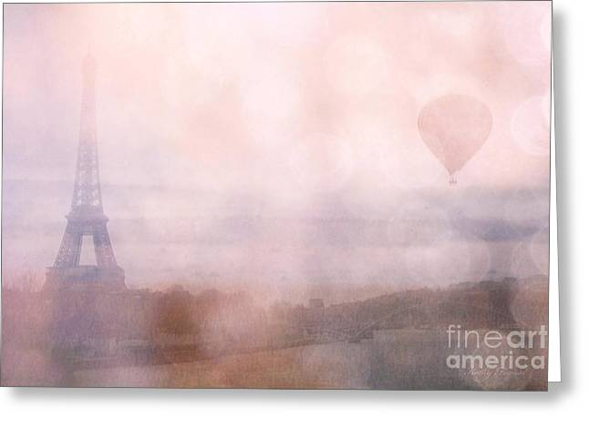 Balloon Art Print Greeting Cards - Paris Dreamy Pink Romantic Eiffel Tower - Paris Pink Eiffel Tower and Hot Air Balloons Greeting Card by Kathy Fornal