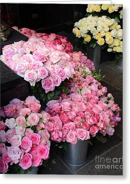 Paris Dreamy Pink Roses - Paris Romantic French Market Roses - Paris Flower Shop Roses Greeting Card by Kathy Fornal