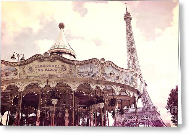 Decor Photography Greeting Cards - Paris Dreamy Pink Yellow Carousel Eiffel Tower Champs des Mars - Paris Carrousel de Paris  Greeting Card by Kathy Fornal