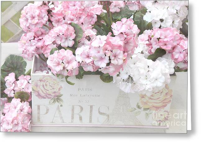 Pink Flower Prints Greeting Cards - Paris Dreamy Romantic Cottage Chic Shabby Chic Paris Flower Box Greeting Card by Kathy Fornal