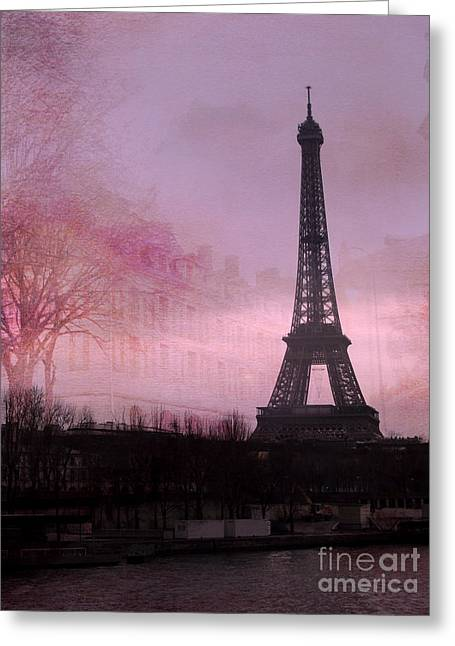 Night Lamp Greeting Cards - Paris Dreamy Romantic Paris Eiffel Tower Pink Architecture Eiffel Tower Photo Montage Greeting Card by Kathy Fornal