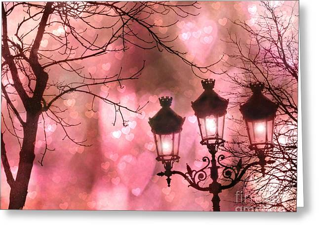 Fantasy Art Greeting Cards - Paris Dreamy Romantic Pink Black Street Lamps - Paris Fantasy Pink Night Lanterns Greeting Card by Kathy Fornal