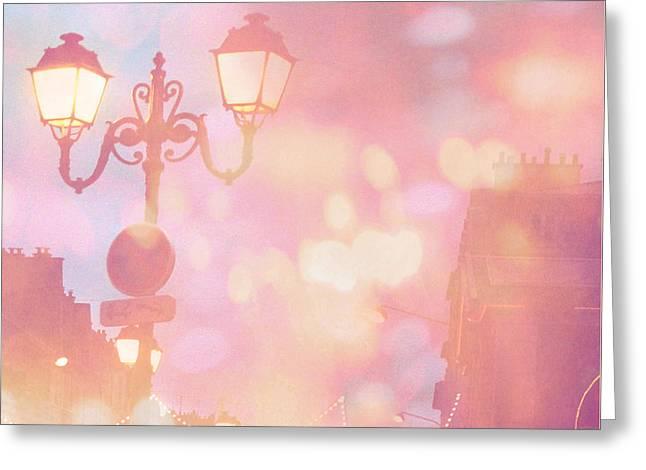 Paris Dreamy Surreal Night Street Lamps Lanterns Fantasy Bokeh Lights Greeting Card by Kathy Fornal