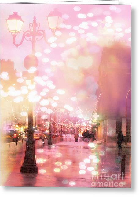 Surreal Photography Greeting Cards - Paris Dreamy Surreal Street Lanterns Lamps - Paris Christmas Holiday Lights  Greeting Card by Kathy Fornal